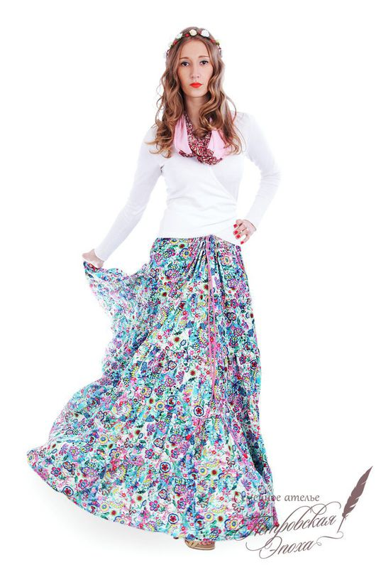 """Юбки ручной работы. Ярмарка Мастеров - ручная работа. Купить Ярусная юбка ,,Сказочный сад"""". Handmade. Юбка из штапеля"""