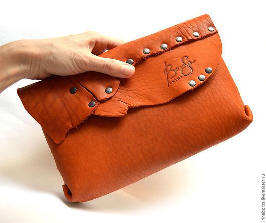 Женские сумки ручной работы. Ярмарка Мастеров - ручная работа. Купить Клатч FOX. Handmade. Рыжий, натуральные материалы, на заказ