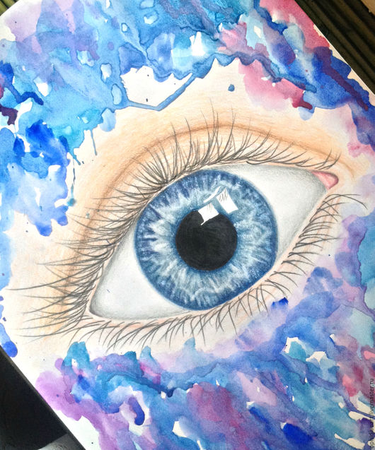 Символизм ручной работы. Ярмарка Мастеров - ручная работа. Купить Blue eye. Handmade. Картина в подарок, рисунок, рисунок карандашом