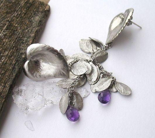 Серьги ручной работы. Ярмарка Мастеров - ручная работа. Купить Серьги 'Leaves with purple drop'. Handmade. Длинные серьги