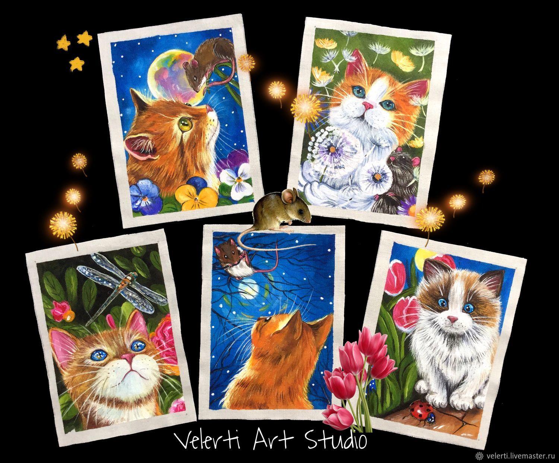 Аппликации, вставки, отделка ручной работы. Ярмарка Мастеров - ручная работа. Купить Набор: «Summer Cats». Handmade. Лето