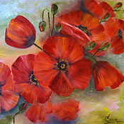 Картины и панно handmade. Livemaster - original item Painting with red poppies Bouquet of scarlet flowers oil painting on canvas. Handmade.