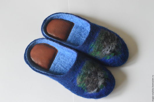 """Обувь ручной работы. Ярмарка Мастеров - ручная работа. Купить Тапочки """"Ежики"""". Handmade. Синий, домашняя обувь, меринос"""