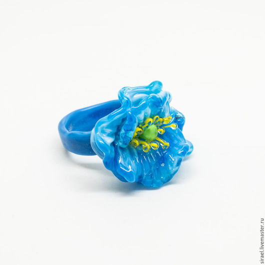Кольца ручной работы. Ярмарка Мастеров - ручная работа. Купить Синие маки Тибета, кольцо. Handmade. Голубой, тибет