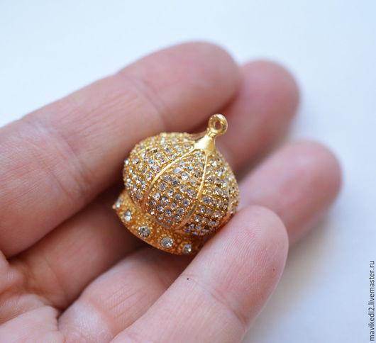 """Для украшений ручной работы. Ярмарка Мастеров - ручная работа. Купить основа для кисточки """"купол""""/ латунь, золото 24 крт (ост. 1 шт.). Handmade."""