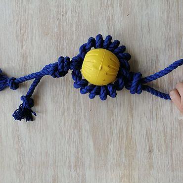 Товары для питомцев ручной работы. Ярмарка Мастеров - ручная работа Игрушки для животных: мяч с канатом. Handmade.