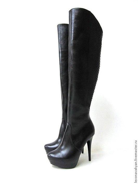 """Обувь ручной работы. Ярмарка Мастеров - ручная работа. Купить Ботфорты женские """"GRAND"""". Handmade. Черный, высокие сапоги"""
