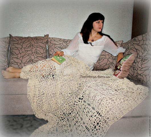 Текстиль, ковры ручной работы. Ярмарка Мастеров - ручная работа. Купить Нежный плед из хлопка .. Handmade. Плед крючком, комфорт