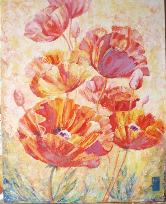 """Картины цветов ручной работы. Ярмарка Мастеров - ручная работа. Купить """"Маки. Солнечный день"""". Handmade. Ярко-красный, маки"""