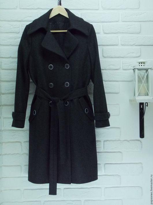 Верхняя одежда ручной работы. Ярмарка Мастеров - ручная работа. Купить Пальто женское двубортное. Handmade. Серый, однотонный