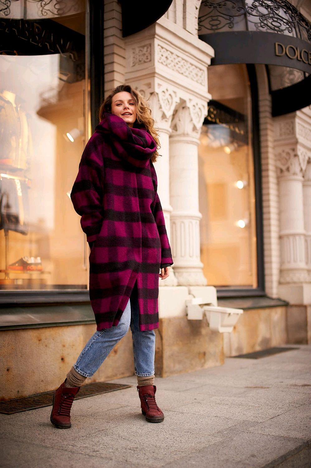 Oversize coat ' Fuchsia-cage', Coats, Moscow,  Фото №1