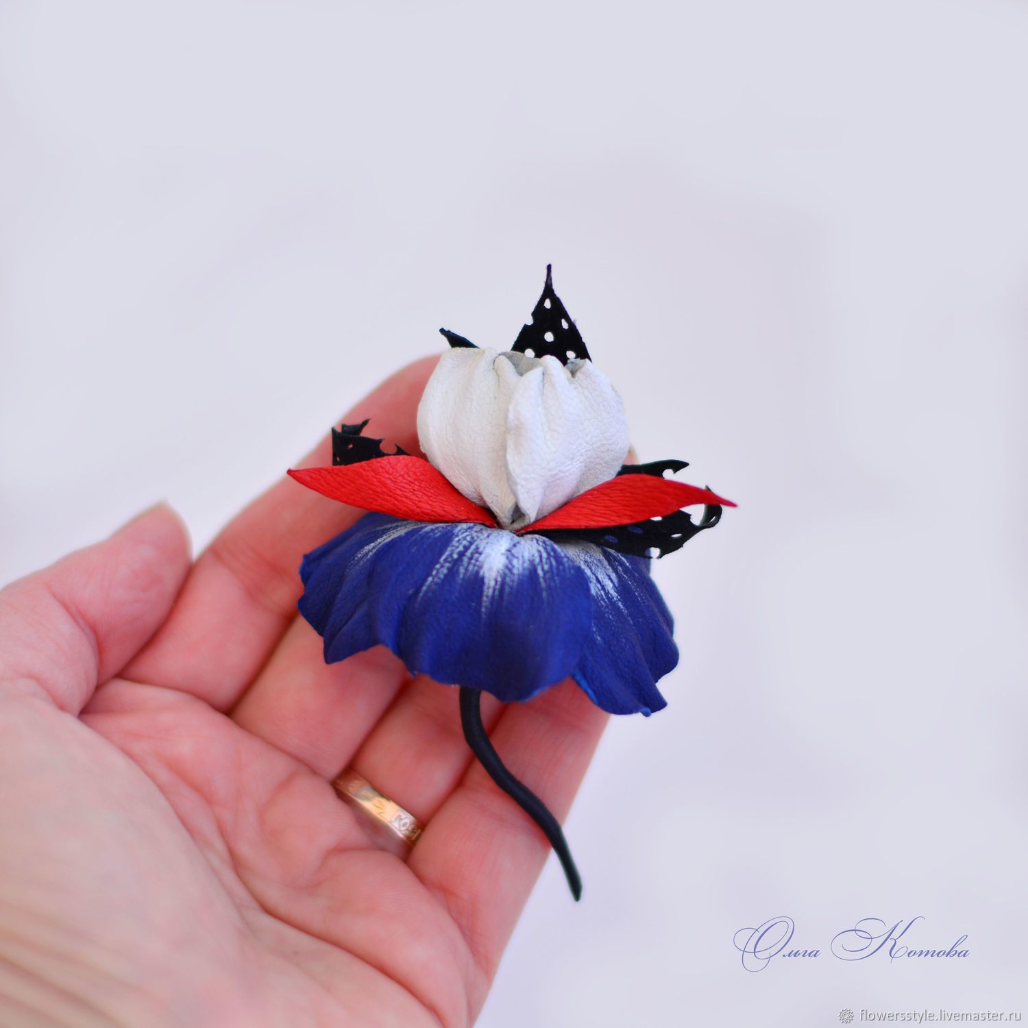 Iris leather brooch small flower marine style blue red white, Brooches, Kursk,  Фото №1