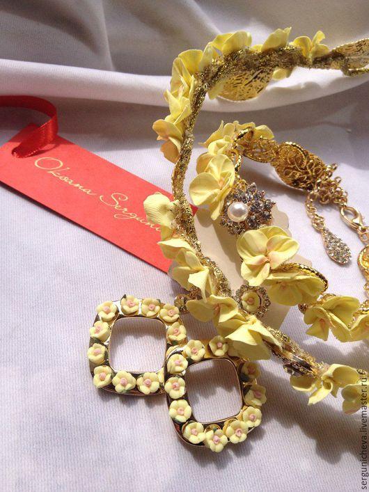 """Диадемы, обручи ручной работы. Ярмарка Мастеров - ручная работа. Купить Комплект""""Sun Аlmonds""""в стиле DG. Handmade. желтый цвет"""