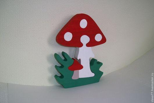 """Развивающие игрушки ручной работы. Ярмарка Мастеров - ручная работа. Купить Деревянный пазл """"Грибочки"""". Handmade. Дерево, Пазл, игрушка"""