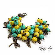 Украшения handmade. Livemaster - original item Bulk summer yellow bracelet with turquoise and pendants dragonflies. Handmade.