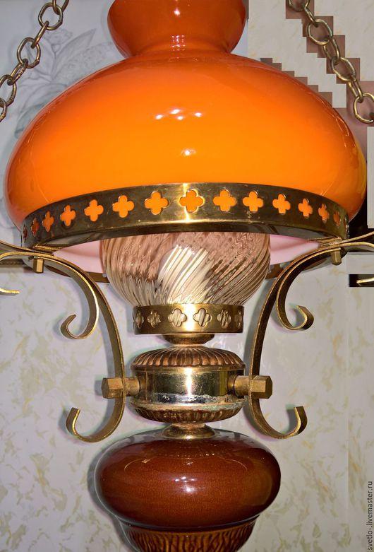 Винтажные предметы интерьера. Ярмарка Мастеров - ручная работа. Купить Люстра «Керосиновая лампа», Югославия, винтаж. Handmade. Рыжий