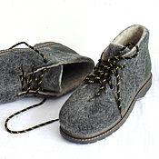 Ботинки ручной работы. Ярмарка Мастеров - ручная работа Серые войлочные ботинки. Handmade.