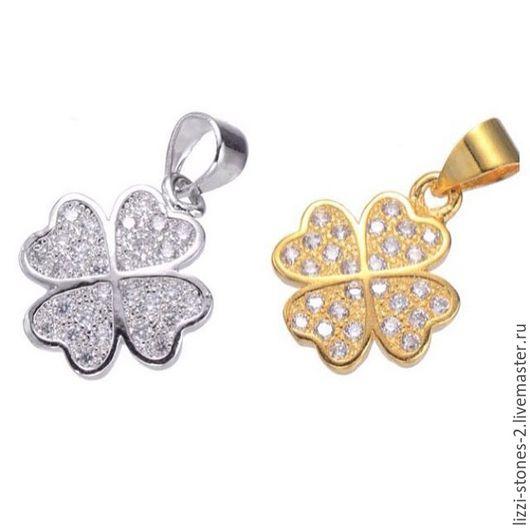 Подвеска Клевер mini серебро и золото (Milano) Евгения (Lizzi-stones-2)