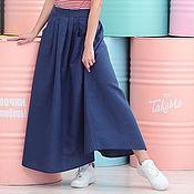 Одежда handmade. Livemaster - original item Dark blue linen boho skirt. Handmade.