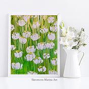 Картины и панно handmade. Livemaster - original item Oil painting with delicate white flowers. White tulips.. Handmade.