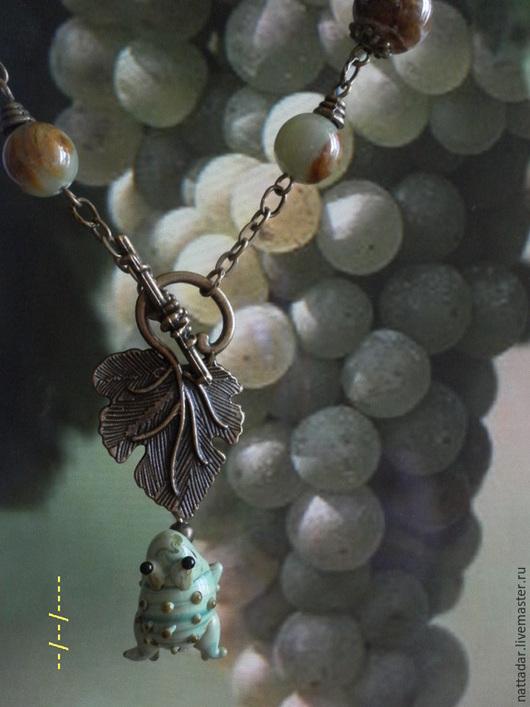 Колье, бусы ручной работы. Ярмарка Мастеров - ручная работа. Купить Сотуар Лягушонок и виноград. Handmade. Мятный, виноградный лист
