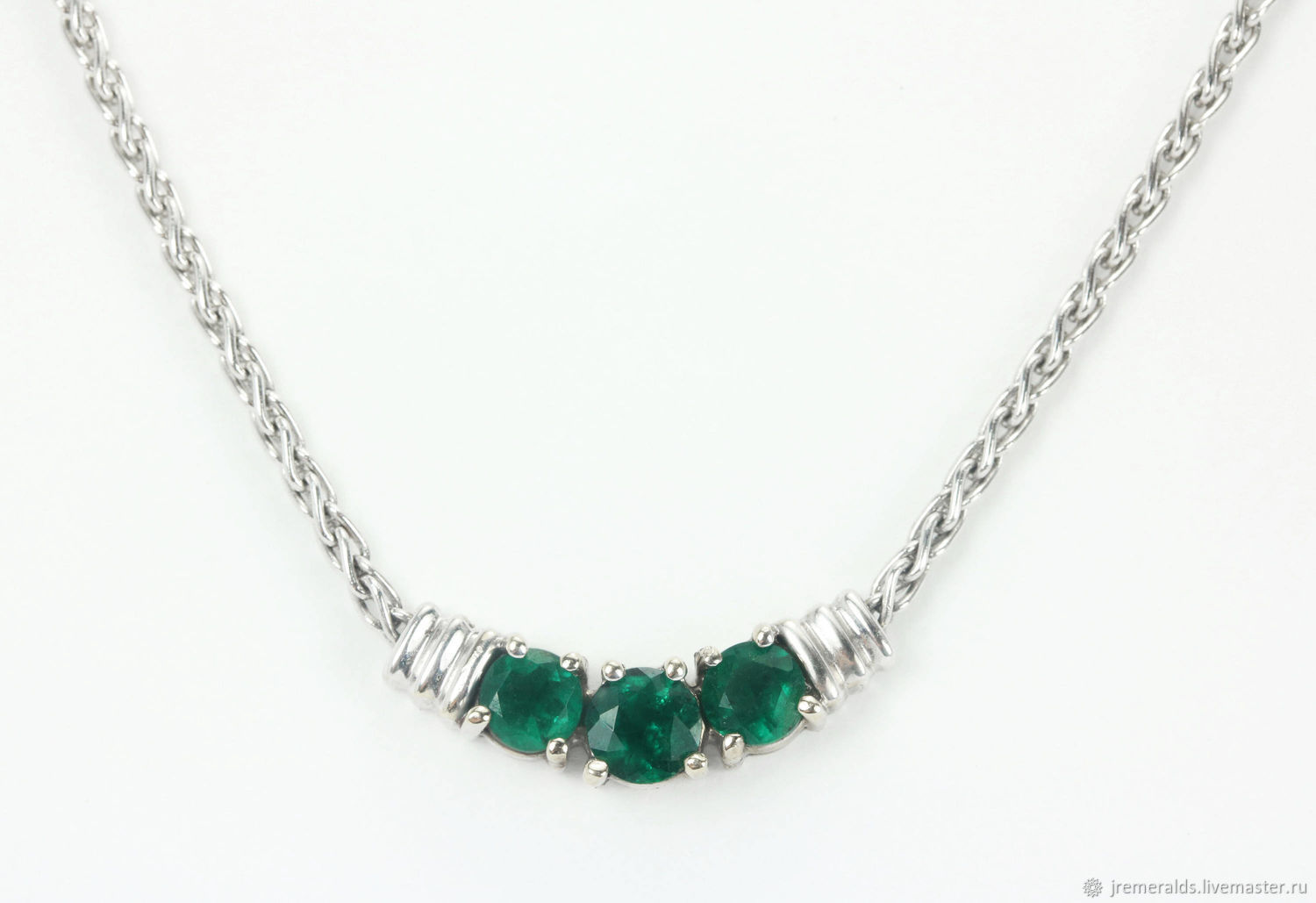 Colombian Emerald & White Gold Necklace 18k, Emerald Cluster Pendant, Necklace, West Palm Beach,  Фото №1