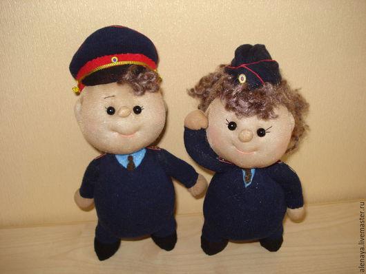 Человечки ручной работы. Ярмарка Мастеров - ручная работа. Купить Кукла пупс. Полицейский. Handmade. Тёмно-синий, нашивка