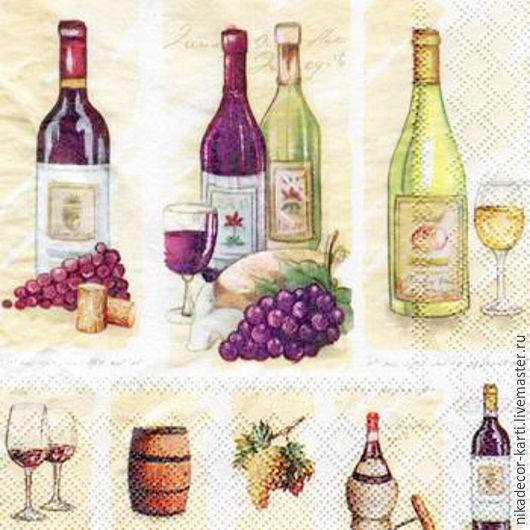 Декупаж и роспись ручной работы. Ярмарка Мастеров - ручная работа. Купить Винтажные вина (13306710) - салфетка для декупажа. Handmade. Разноцветный