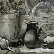 Картины и панно handmade. Livemaster - original item Oil Painting Grisaille Still Life With Basket And Jug. Handmade.