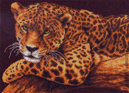 Животные ручной работы. Ярмарка Мастеров - ручная работа. Купить Леопард на ветке. Handmade. Коричневый, вышивка, Вышивка крестом