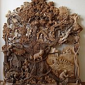 Картины и панно handmade. Livemaster - original item Wood carving panno Lukomoie. Handmade.