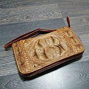 Сумки и аксессуары handmade. Livemaster - original item Wallet made of embossed crocodile skin, zipper.. Handmade.