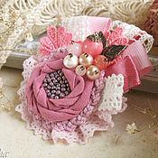 """Украшения ручной работы. Ярмарка Мастеров - ручная работа """"Дикая роза"""" брошь бохо цветок с жемчугом розовый. Handmade."""