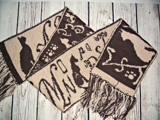 Шарфы и шарфики ручной работы. Ярмарка Мастеров - ручная работа. Купить Вязаный шарф Кошачий алфавит. Handmade. Вязаный шарф