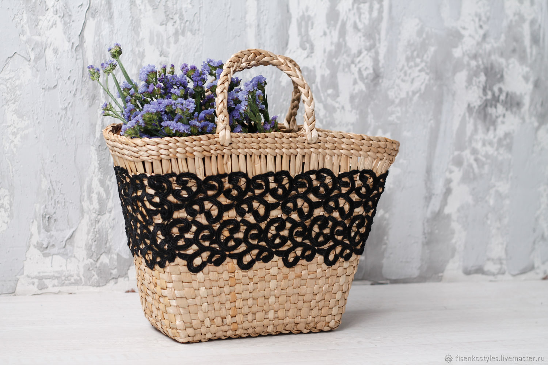 Плетённая сумка+ черное кружево_ручная работа_Fisenko brand