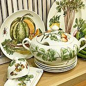 Посуда handmade. Livemaster - original item Porcelain painting Table service Vegetables on a plate. Handmade.
