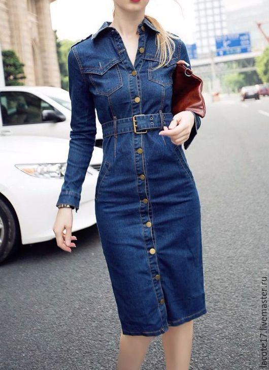 Платья ручной работы. Ярмарка Мастеров - ручная работа. Купить Джинсовое платье. Handmade. Синий, джинсовый стиль, пошив, юбка