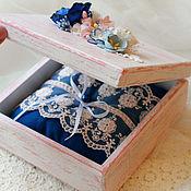 Свадебный салон ручной работы. Ярмарка Мастеров - ручная работа Шкатулка для колец (подушечка под кольца). Handmade.