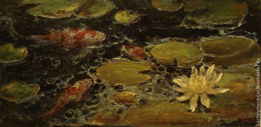 """Пейзаж ручной работы. Ярмарка Мастеров - ручная работа. Купить Картина маслом """"Рыбки кои в пруду"""". Handmade. Оливковый"""