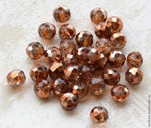 Бусины кристаллы,  рондель 6 х 4 мм, бронзовый оттенок, прозрачные
