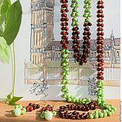 """Украшения ручной работы. Ярмарка Мастеров - ручная работа Салатовые бусы и серьги """"Шоколад с мятой"""". Handmade."""