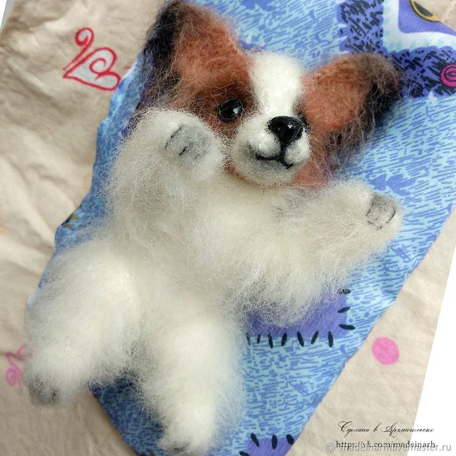 Dog Papillon knitted puppy, Stuffed Toys, Arkhangelsk,  Фото №1