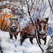Картины ручной работы. Ярмарка Мастеров - ручная работа Кабаны в лесу. Картина на бересте подарок охотнику. Handmade.