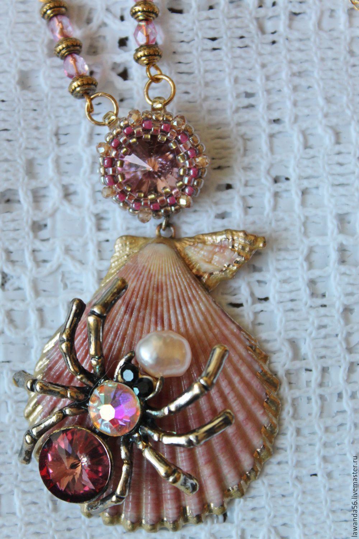 Necklace with Swarovski crystals seashell Underwater world, Necklace, Krasnoyarsk,  Фото №1