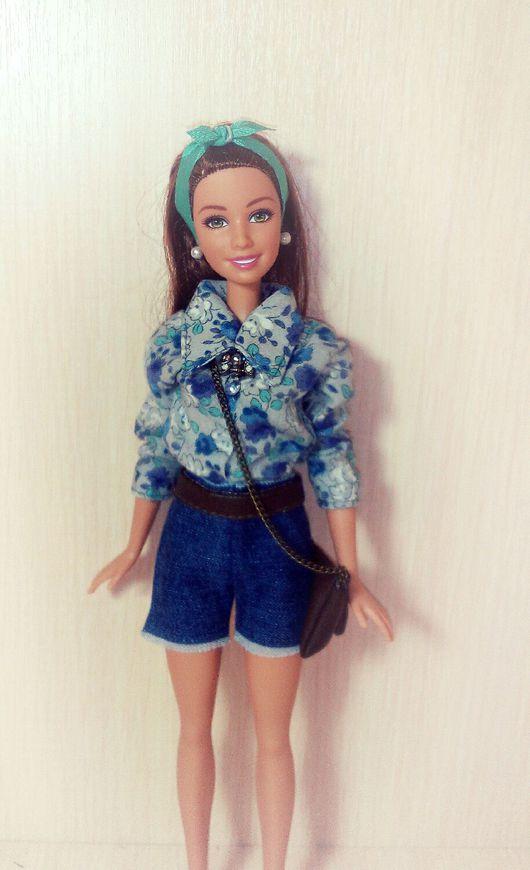 Одежда для кукол ручной работы. Ярмарка Мастеров - ручная работа. Купить Блузка и джинсовые шорты. Handmade. Модная одежда