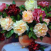 Картины и панно ручной работы. Ярмарка Мастеров - ручная работа картина лентами-пионы на столе. Handmade.