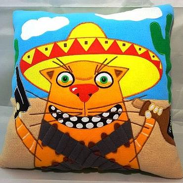 Для дома и интерьера ручной работы. Ярмарка Мастеров - ручная работа Подушка интерьерная аппликация рыжий кот Мексиканец. Handmade.