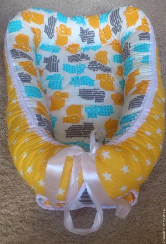 Для новорожденных, ручной работы. Ярмарка Мастеров - ручная работа. Купить Кокон-гнездышко для новорожденного babynest. Handmade. Гнездо для новорожденного