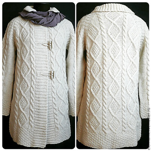 Верхняя одежда ручной работы. Ярмарка Мастеров - ручная работа. Купить Пальто  вязаное спицами светлое осеннее. Handmade.