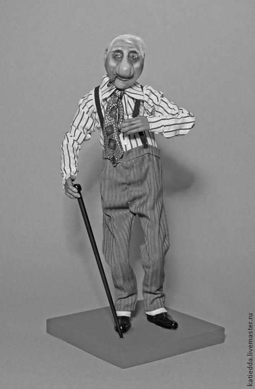 Коллекционные куклы ручной работы. Ярмарка Мастеров - ручная работа. Купить Авторская кукла из глины Гарри Олдстер. Handmade. Серый